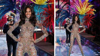 Cindy Bruna lit up the runway in a Swarovski embellished fireworks themed outfit. (Instagram)