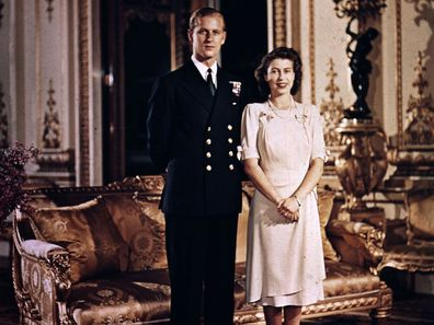 Prince Philip and Princess Elizabeth in Buckingham Palace in 1947.
