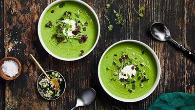 "Recipe:&nbsp;<a href=""https://kitchen.nine.com.au/2016/12/19/12/26/green-cucumber-kale-and-mint-gazpacho"" target=""_top"">Green cucumber, kale and mint gazpacho</a>"