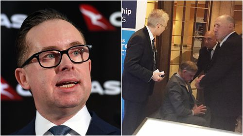 Alan Joyce was hit by a cream pie at a business breakfast this morning. (AAP)