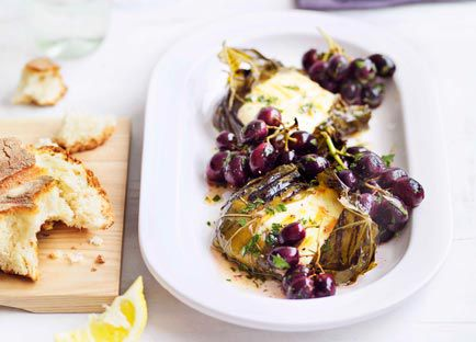 Vine leaf mozzarella parcels with anchovy, lemon and grilled grapes
