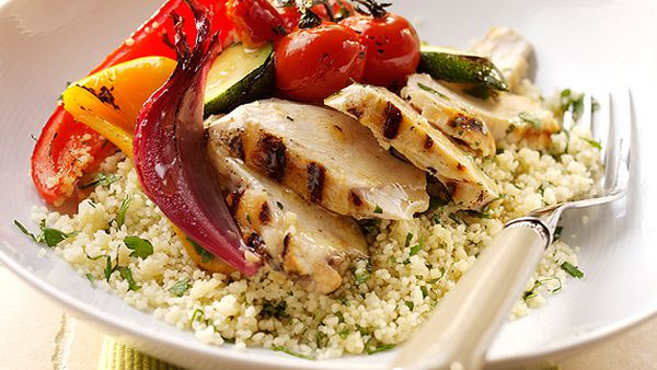 Barbecue chicken with coriander couscous and elderflower roasted vegetables