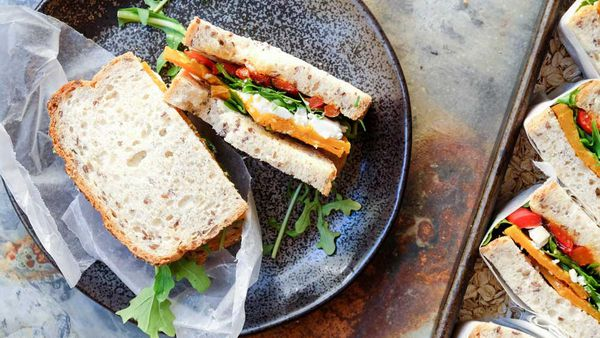Roasted pumpkin, feta, rocket and capsicum sandwich recipe by Abbott's Village Bakery