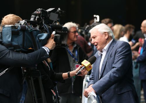Sir David Attenborough speaking to the media as he arrives for the World Premiere screening of the BBC's Blue Planet II at the British Film Institute IMAX cinema in London. (AAP)