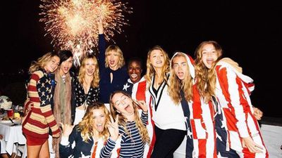 Popstar Taylor Swift has once again celebrated the fourth of July at her Rhode Island home with a slew of famous celebrity friends, this time with an enormous inflatable waterslide, matching bathing suits and beach-side antics. (Instagram: @taylorswift)