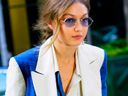 Gigi Hadid wearing Oscar de la Renta tie-dye suit in New York City