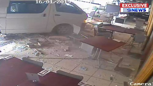 Exclusive video shows the moment the van smashed through the restaurant.