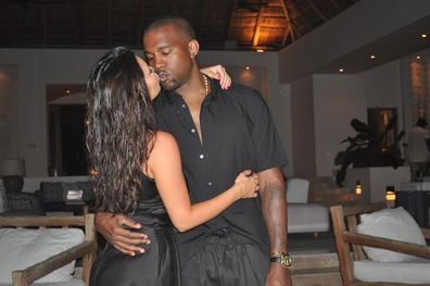 Kanye West, Kim Kardashian, kissing, Instagram photo