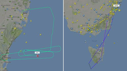 The flight routes of QF7 and QF63.