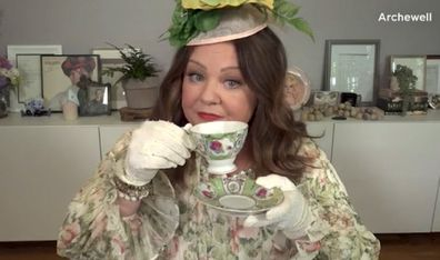 The actress dresses up for her suggestion of a tea party for Meghan's 40th birthday.