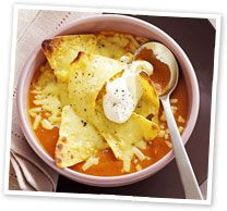 Chilli bean soup with cheesy topping