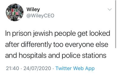 Rapper, Wiley, Twitter, anti-Semitic tweets