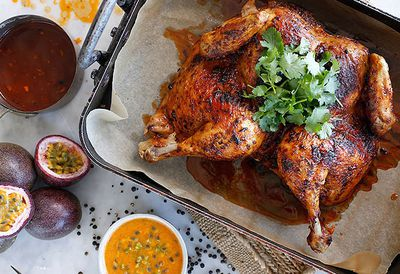 Roast chicken with passionfruit sauce