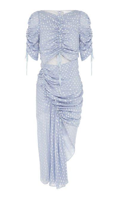 "<em><a href=""https://www.alicemccall.com/i-feel-it-coming-dress-pebble-blue.html"" target=""_blank"">Alice McCall I Feel it Coming dress, $370.00</a></em>"