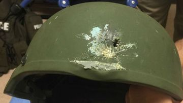 An image of the Kevlar helmet that saved an officer's life. (Twitter/Orlando Police)