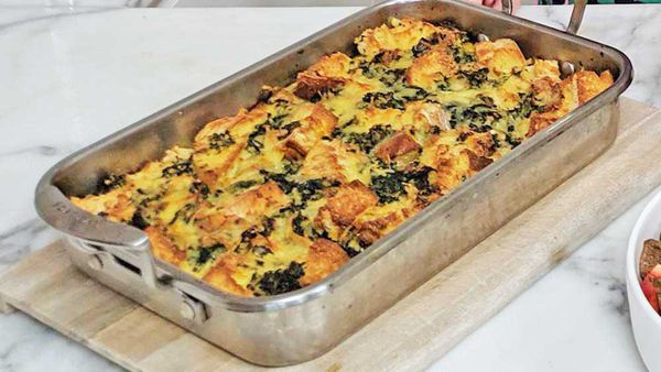Spinach and bread cheese bake recipe