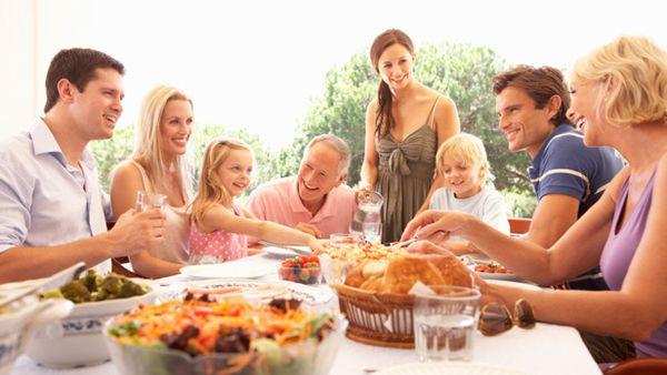 Family eats outdoors