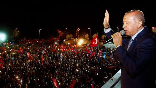 President Recep Tayyip Erdogan addresses supporters. (Photo: AP).