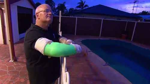 Mr Greenhalgh is on the mend but has lifelong damage to his hand. (A Current Affair)