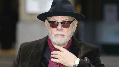 Former pop star Gary Glitter, real name Paul Gadd, arrives at Southwark Crown Court in London. (AAP)