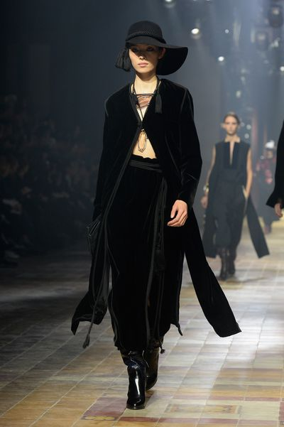 Lanvin reimagined the goth in long-line velvet jackets and maxi skirts.