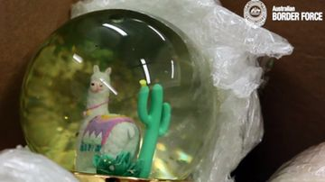 A sinister consignment of 15 snow globes filled with liquid meth worth $1 million sent from Canada has been intercepted in Sydney.
