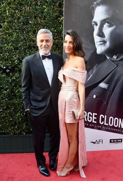 """<p>The A-list have taken to the red carpet to celebrate George Clooney at the American Film Institute's 46th Life Achievement Award Gala.</p> <p>The actor was honoured for his contribution to the film industry, and there was no mistaking the night was all about Clooney and his wife,<a href=""""https://style.nine.com.au/2018/04/06/13/51/amal-clooney-trench-coat-megahn-markle"""" target=""""_blank"""" draggable=""""false""""> Amal.</a></p> <p>George in a&nbsp;classic tuxedo, while Amal shone in a metallic pink off the shoulder gown, the pair demanded attention from the moment they arrived, cementing their place as the power couple they are.&nbsp;</p> <p>They were joined by a bevvy of Hollywood stars such as Jennifer Aniston who arrived with bestie Courteney Cox, and Cate Blanchett, who lifted the style stakes once again in Aouadi Paris.</p> <p>Click through to take a look at the night's sartorial standouts.</p> <p>&nbsp;</p> <p>&nbsp;</p> <p>&nbsp;</p> <p>&nbsp;</p>"""