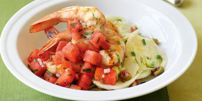 Grilled prawns with fennel salad & watermelon salsa