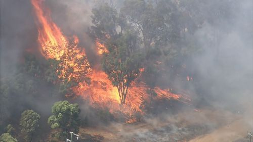 The Wundowie blaze came within metres of houses.