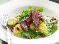 Warm lamb, potato and pomegranate salad