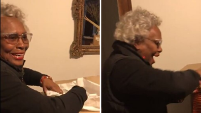 72-year-old grandmother goes viral after opening a gift