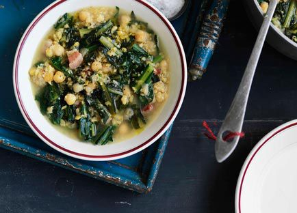 Chicory, chickpea and pancetta soup (zuppa di ceci, cicoria e pancetta)