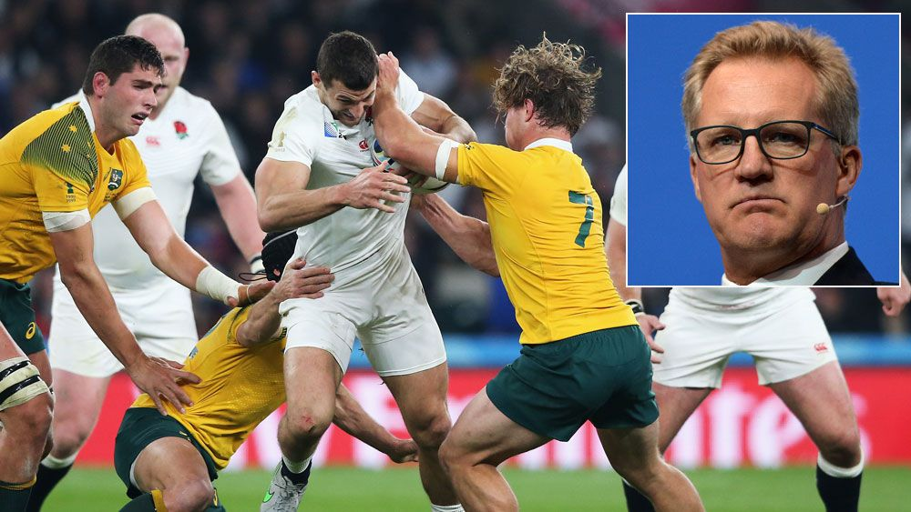 The Wallabies and England clash atthe Rugby World Cup and (inset) Michael Lynagh. (Getty)