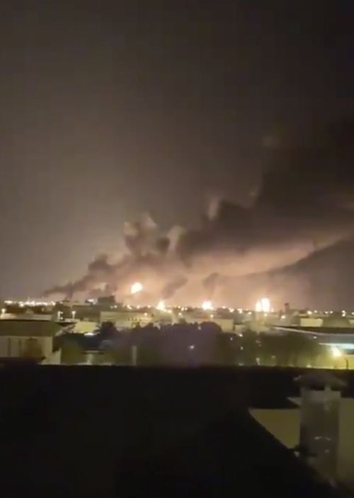 Smoke fills the sky at the Abqaiq oil processing facility on September 14, 2019 in Saudi Arabia. The attack sparked a huge fire at a processor crucial to global energy supplies.