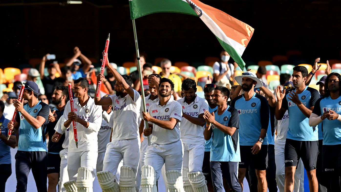 India march a lap of honour around the Gabba led by Rishabh Pant. (Getty)
