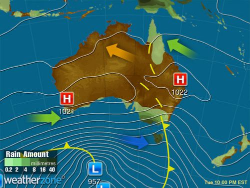 A cold front will sweep the south east on Tuesday, but much of the east coast can expect a gorgeous week of weather. (Weatherzone)