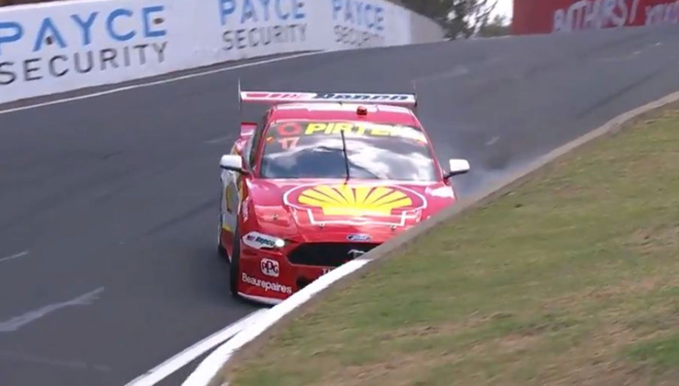 Scott McLaughlin hits the wall during practice for the Bathurst 1000.