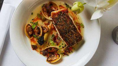 "Recipe:<a href=""http://kitchen.nine.com.au/2017/09/05/13/24/catalinas-crispy-skin-cone-bay-barramundi"" target=""_top"">Catalina's crispy skin cone bay barramundi, pipis, vongole, mussels, braised leeks, avruga and lemon thyme veloute</a>"