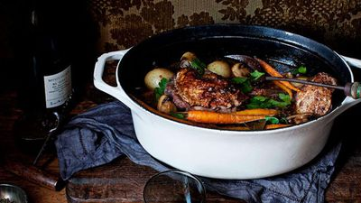 """Recipe:&nbsp;<a href=""""http://kitchen.nine.com.au/2016/05/16/10/55/coq-au-vin"""" target=""""_top"""">Coq au vin with crusty baguette<br /> </a>"""