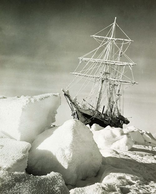 The Endurance becomes trapped in ice in 1915. (AP).