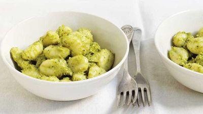 """Recipe: <a href=""""http://kitchen.nine.com.au/2017/08/10/16/55/avocado-pesto-gnocchi"""" target=""""_top"""">Ten minute avocado pesto gnocchi</a>"""