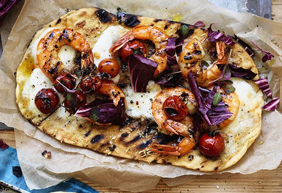 Lemon chilli Australian prawn and radicchio pizza