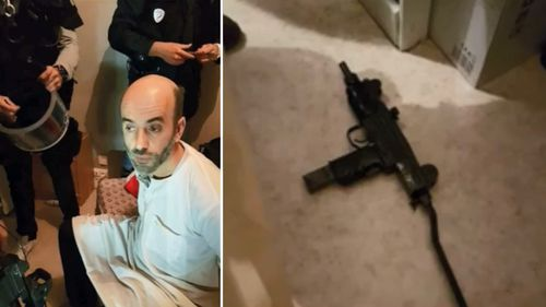 The dishevelled interior of the fifth-floor apartment where Faid was caught.