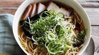 "Recipe:&nbsp;<a href=""http://kitchen.nine.com.au/2016/05/16/17/48/ramen-with-roast-pork-belly-nori-and-spring-onion"" target=""_top"" draggable=""false""><strong>Ramen with roast pork belly, nori and spring onion</strong></a>"