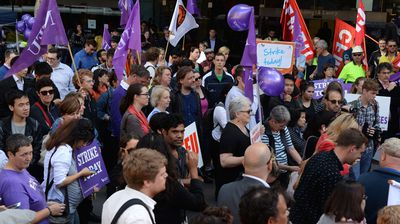 "Protesters at the rally chanted slogans including ""no cuts, no fees, no corporate universities"""