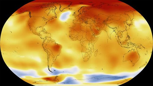 A NASA map shows 2017 temperatures, with red and orange representing warmer than average, and blue representing cooler than average. (NASA)