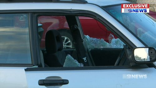 Police bashed in the windows before the driver drove off again. Picture: 9NEWS