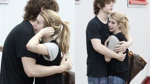 Emma Roberts cries into boyfriend's arms after domestic violence arrest