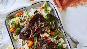 Barbecued satay beef steak vermicelli salad