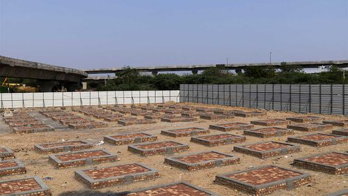 Newly built funeral pyre plinths during lockdown restrictions imposed by the state government in New Delhi, India.